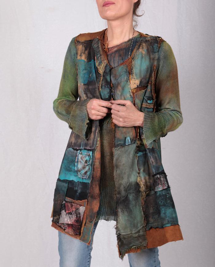 'mix it up' patchwork textured detailed vest