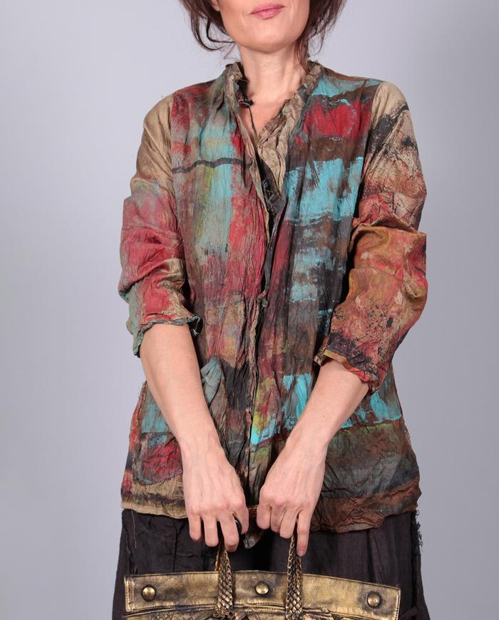 'barely there' bold crisp crinkled silk jacket