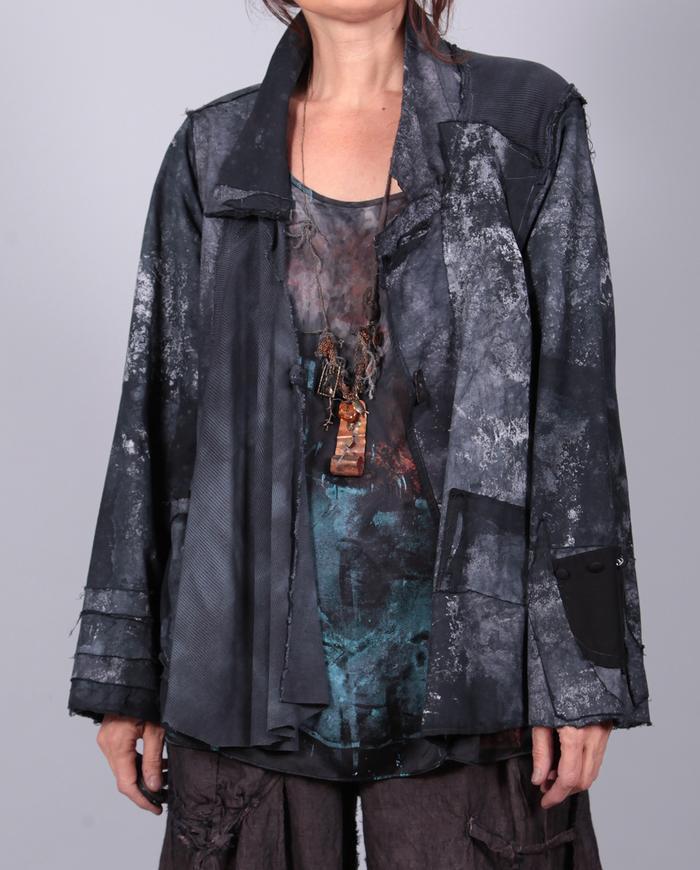 mixed fabrics short gray hand-painted jacket