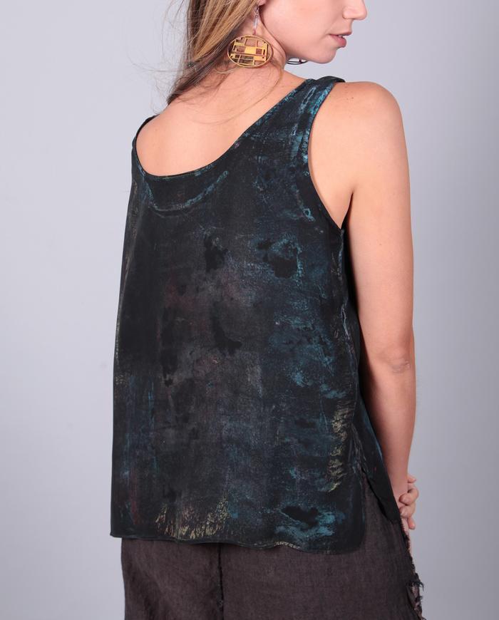 subtle color over black silk tank top