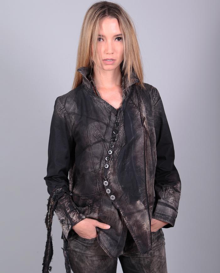 lightweight crisp modern distressed shirt-to-jacket