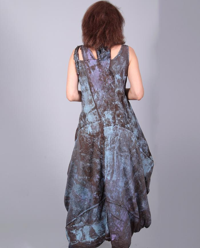crisp silk full hand-painted boho dress