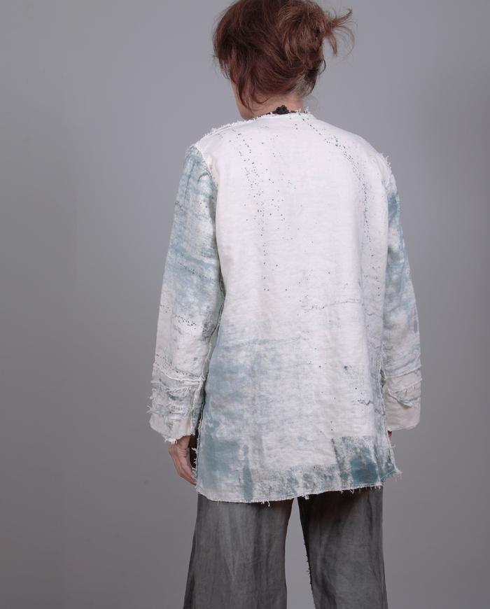 well-draped Belgian canvas indigo on white jacket