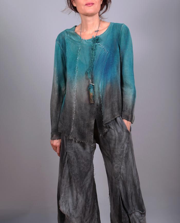 'aquadisiac dream' asymmetrical loose knit flax top