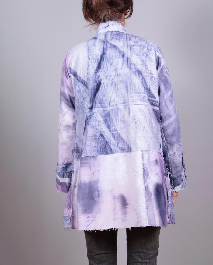 'almost blocked' purple indigo patchwork jacket