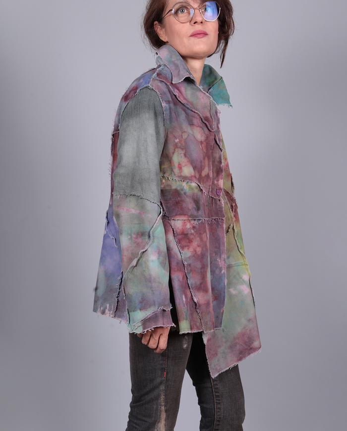 'dreamy floating' abstract impressionist asymmetrical jacket