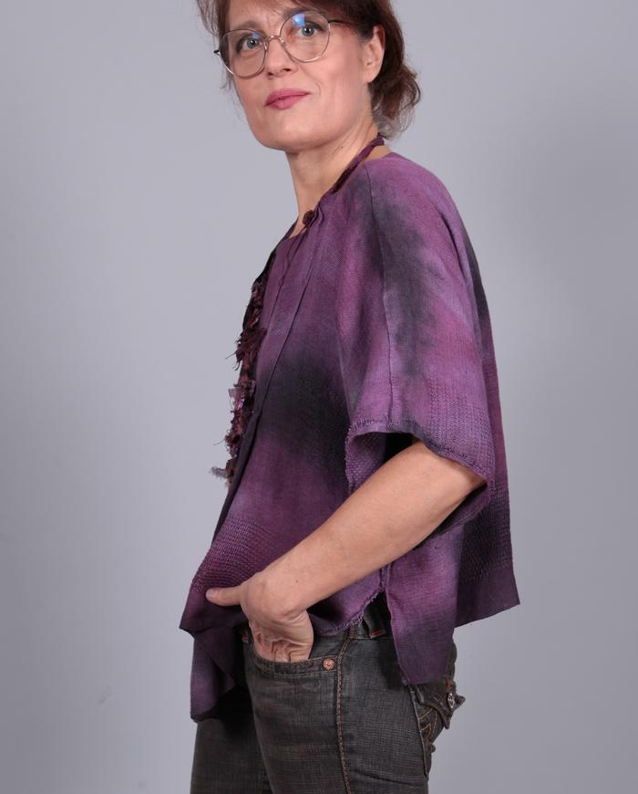 'breathe easy' boxy drapey hand-woven linen top