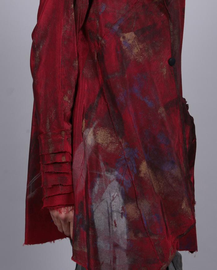 'mixed emotions' deep red asymmetrical swing jacket