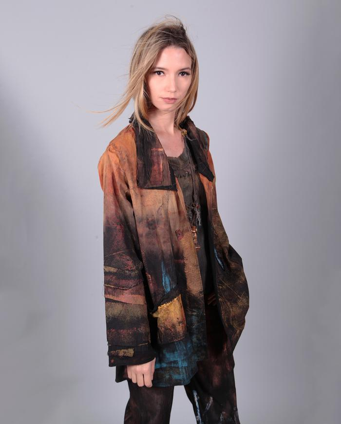 'fire and deep ice' lightweight hand-painted jacket