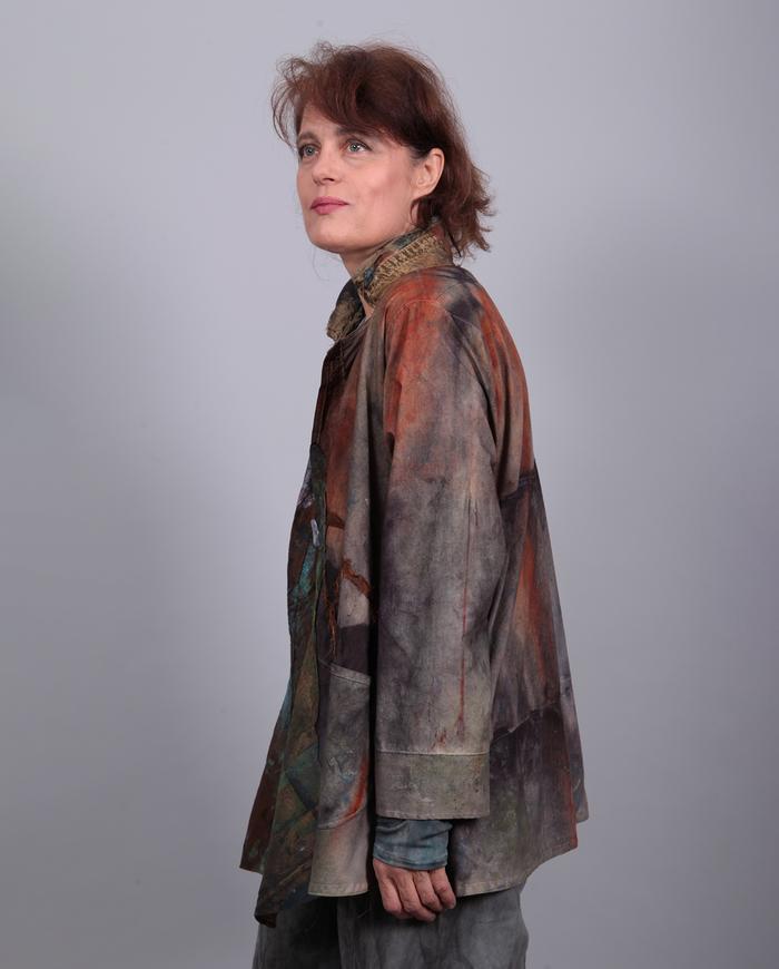 mixed fabrics hand-painted lightweight jacket