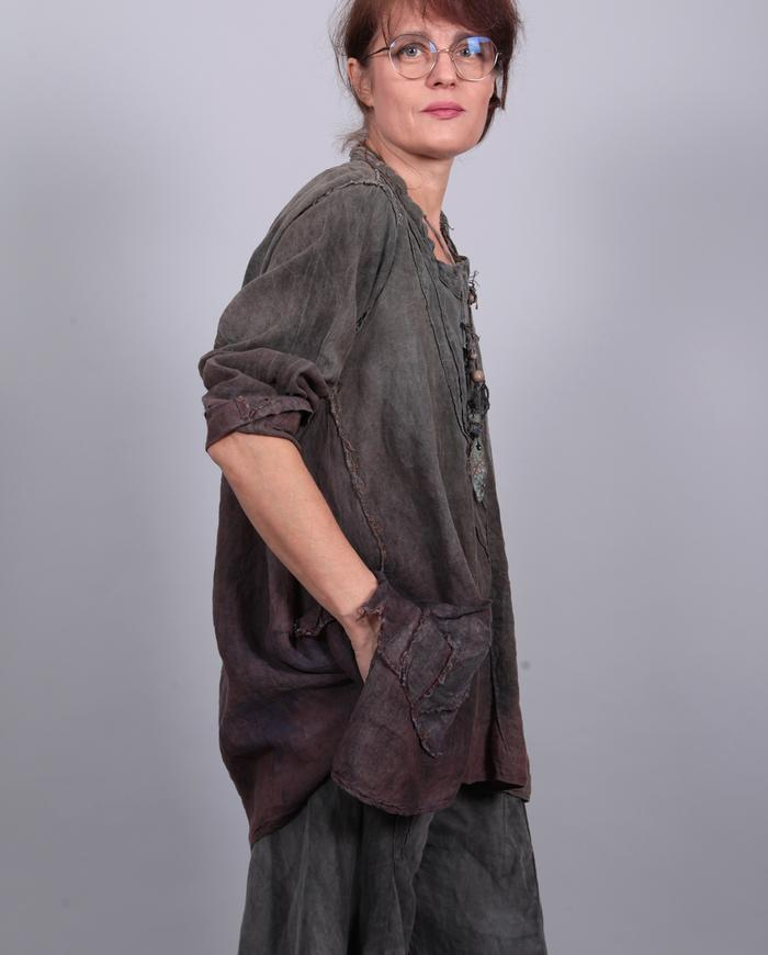 loose-fitting olive-to-purple distressed Belgian linen tunic