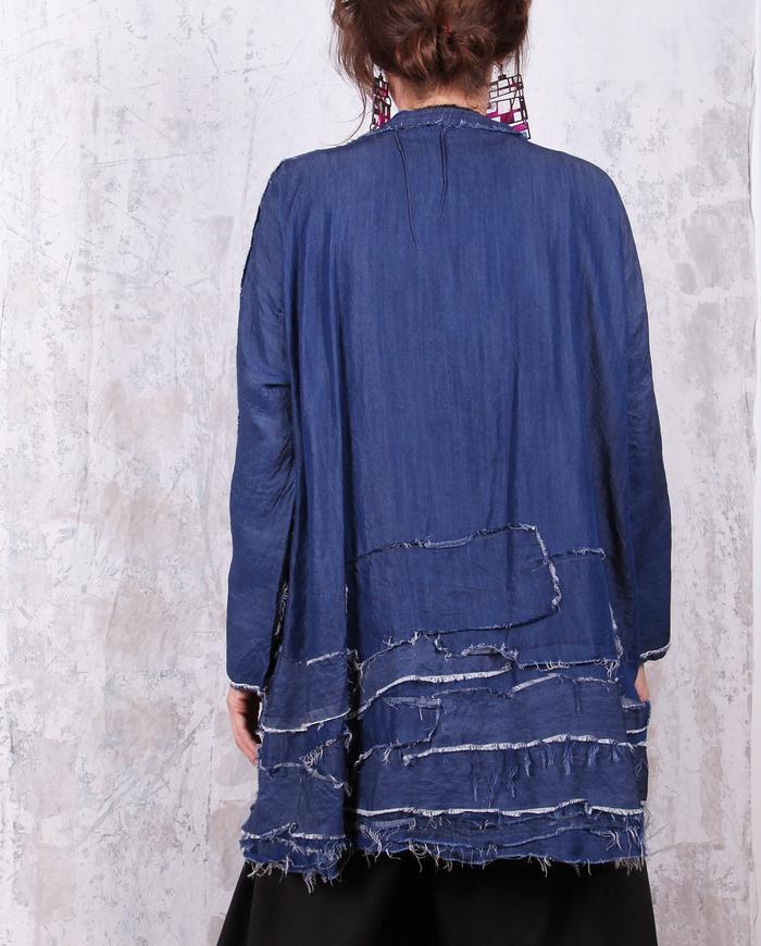 oversized fluid indigo denim distressed texture jacket