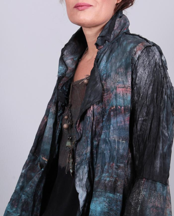 'ripples on demand' hand-painted textured cotton jacket