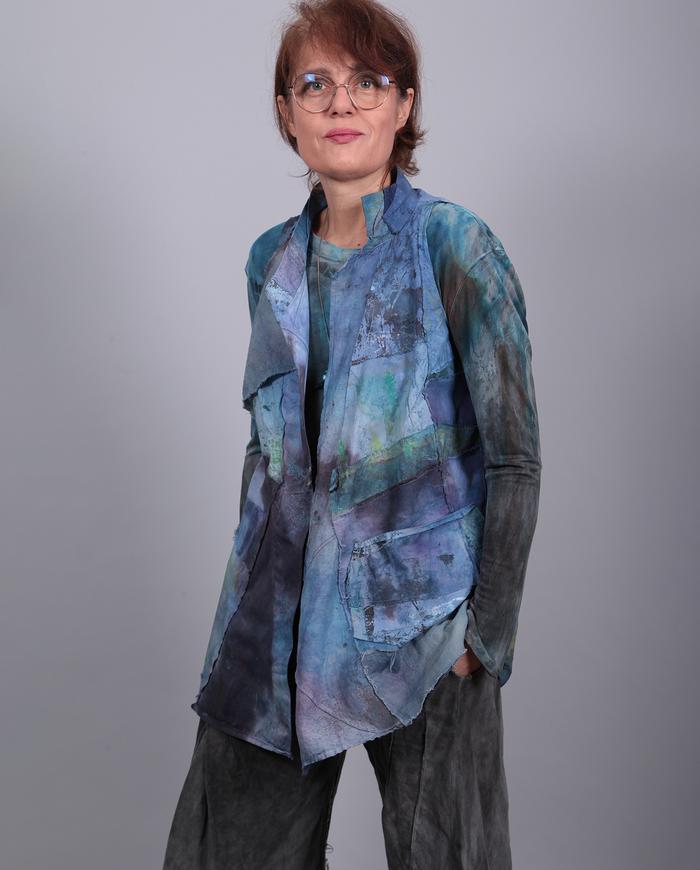 'blue waves' patchwork hand-painted vest