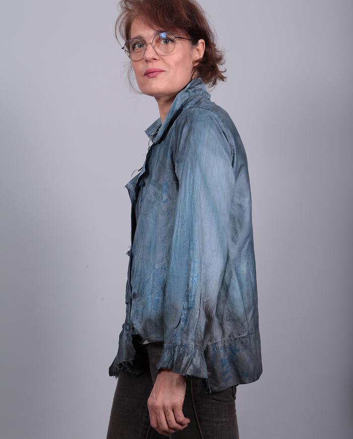 asymmetrical playful blue-gray short top or jacket