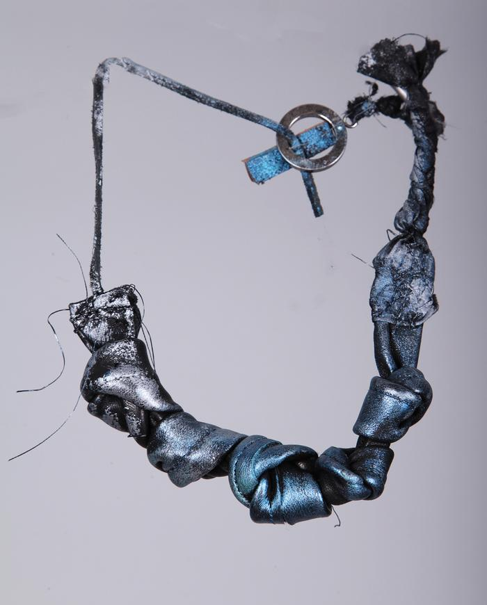 leather and silk painted choker necklace