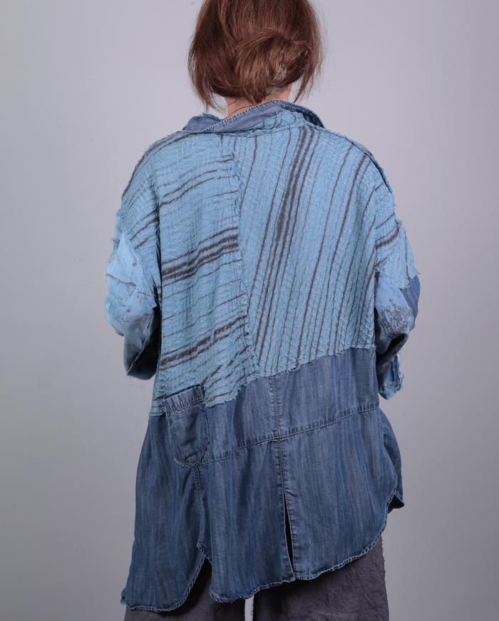 'blue denim dreams' patchwork roomy fall tunic