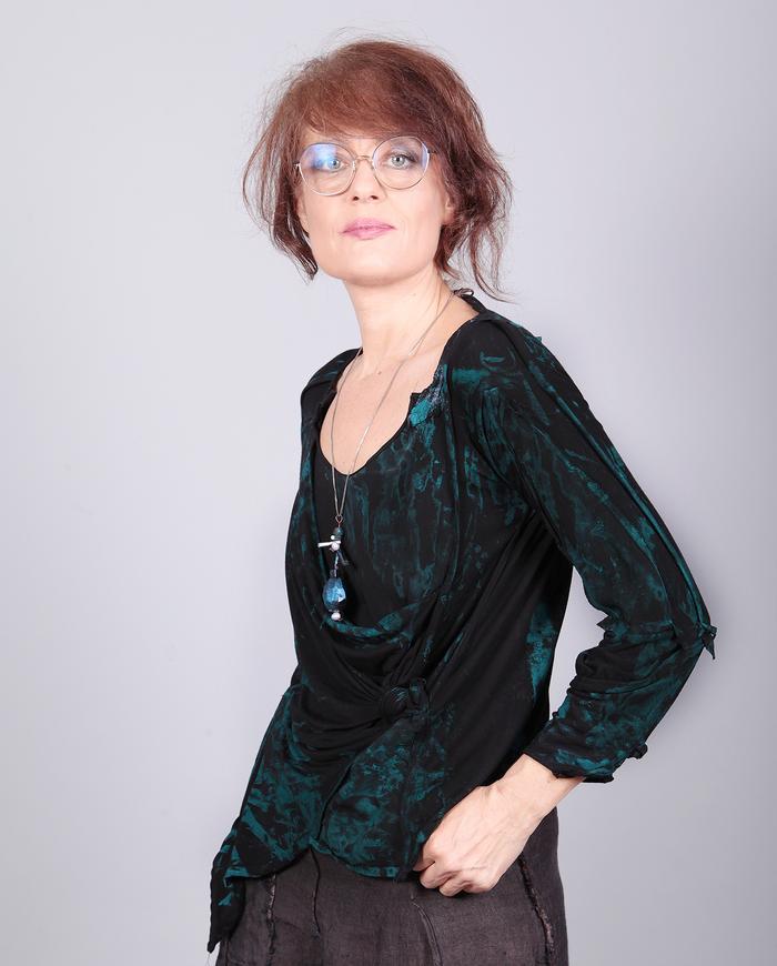 'stormy sea' drape front asymmetrical knit top
