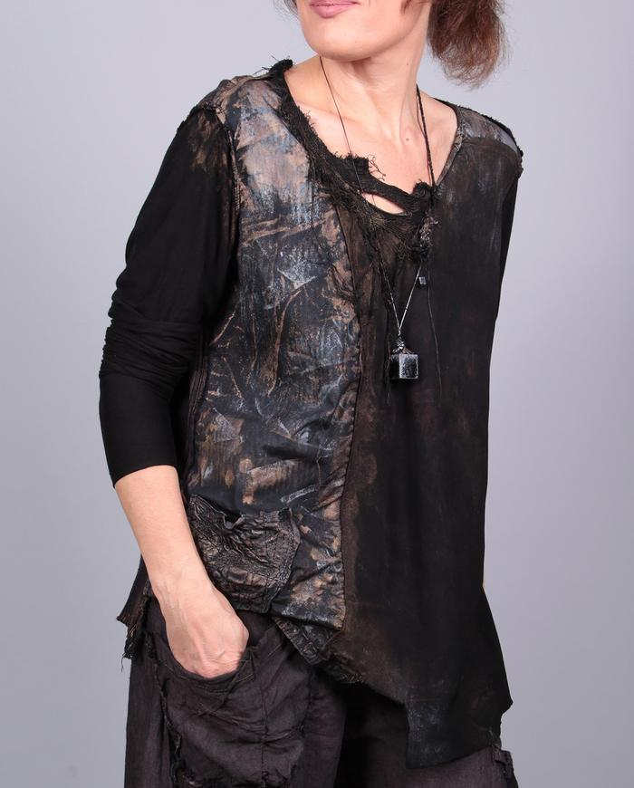 'four-in-one' mixed fabrics mostly black top