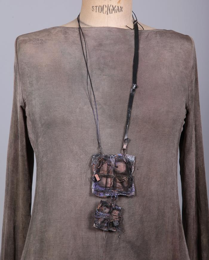 'looking in' mixed materials pendant necklace