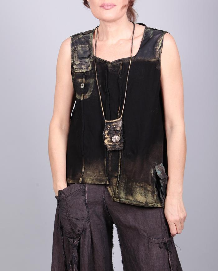 'blank pages' detailed asymmetrical black painted top