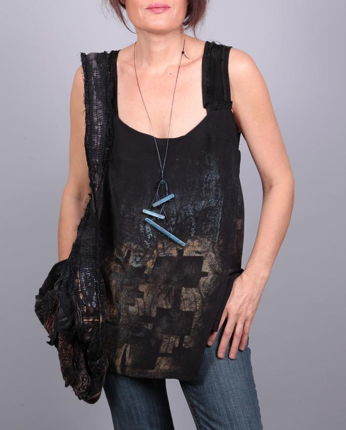 't-squared' faux wrap sleeveless silk crepe top