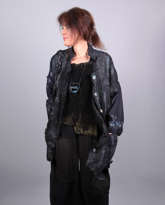 'just a touch of shimmer' asymmetrical lagenlook black jacket