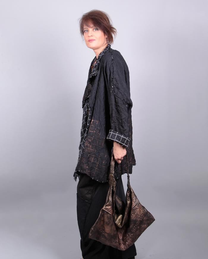 'hit the reverse' textured silk oversized OSFA jacket