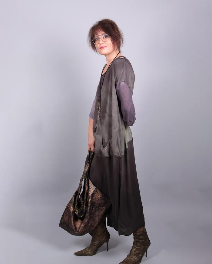 large lightweight lambskin handbag in metallic bronze/copper
