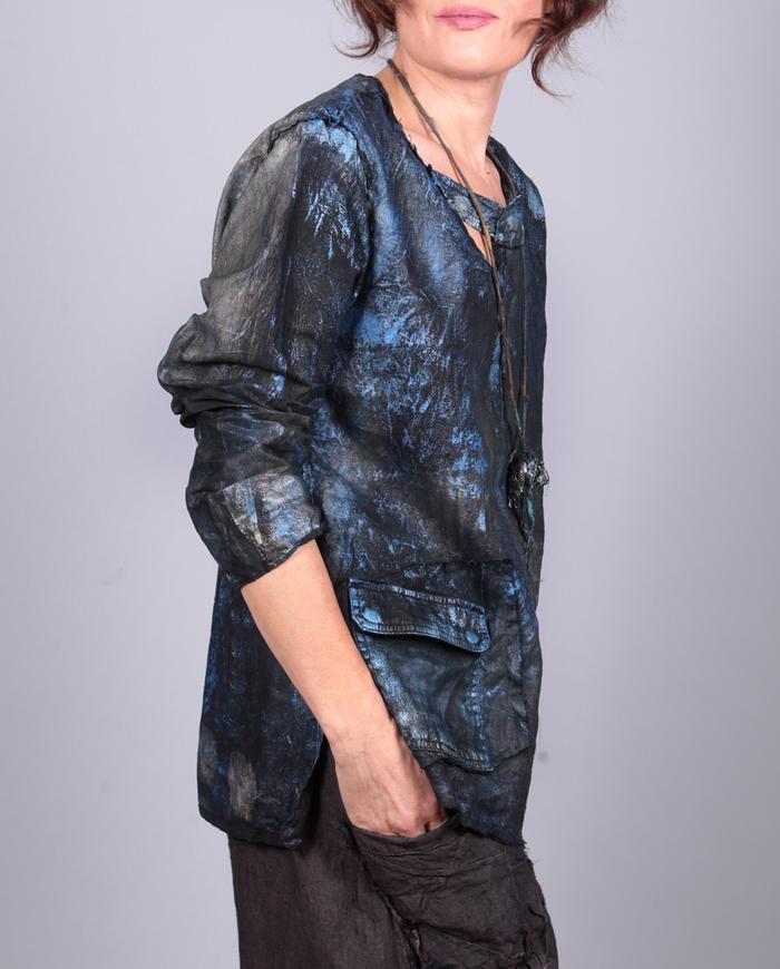 'light metal' mixed fabrics hand-painted top