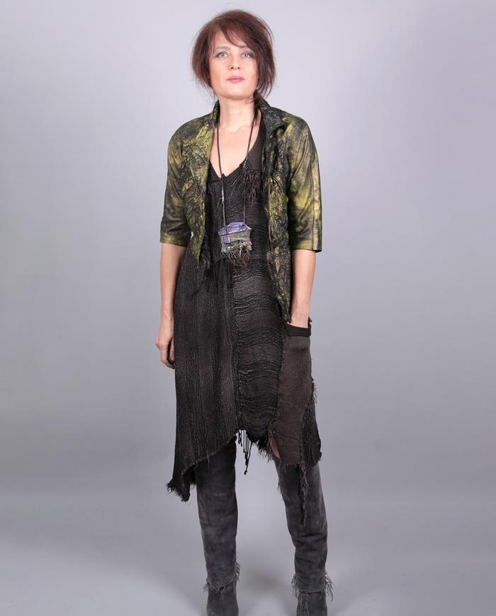 'pick your fringe' fluid woven asymmetrical dress