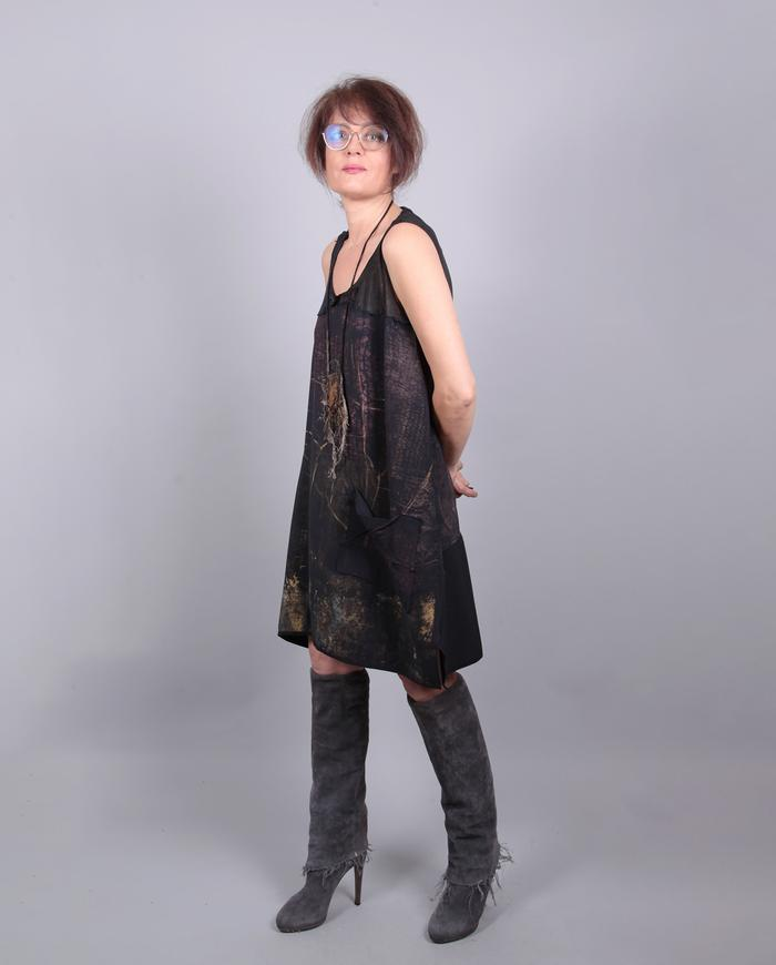 'almost a shift' hand-painted silk crepe dress
