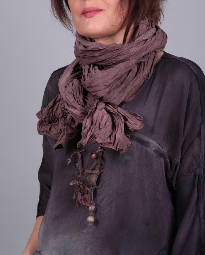 'extra lengths' crinkled batiste mauve scarf or shawl