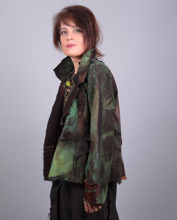 'nature's own' detailed short swing jacket in greens