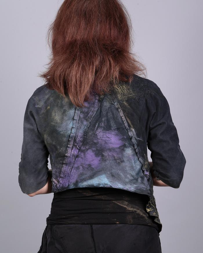 'green gold' asymmetrical hand-textured leather reversible jacket