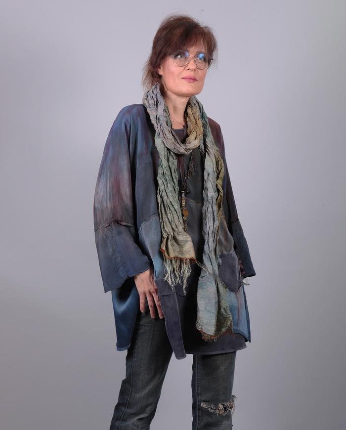 'rumple and crumple' crinkled long silk scarf