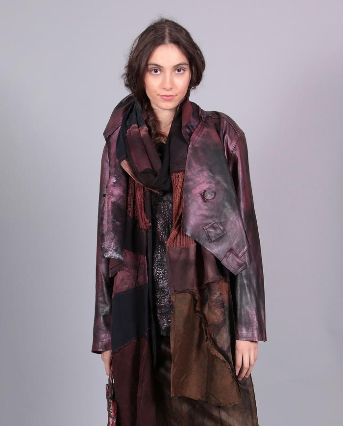 'the long mile' patchwork natural fabrics x-long scarf