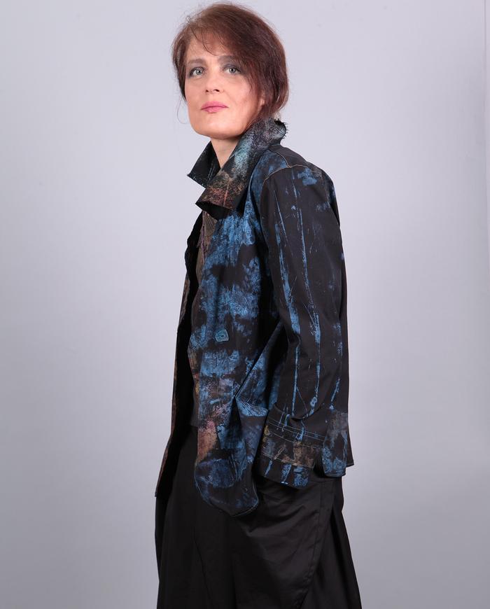 'road less traveled' lightweight cotton wearable art jacket