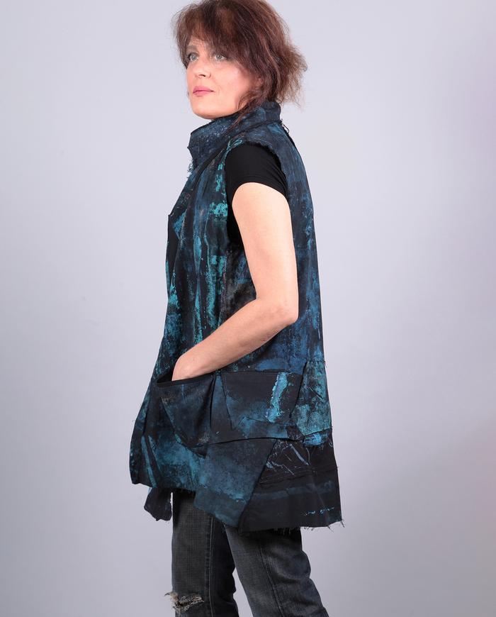 'blues embrace' hand-painted cotton vest