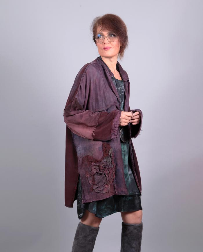 'the many shades of wine' drapey one size lagenlook silk jacket