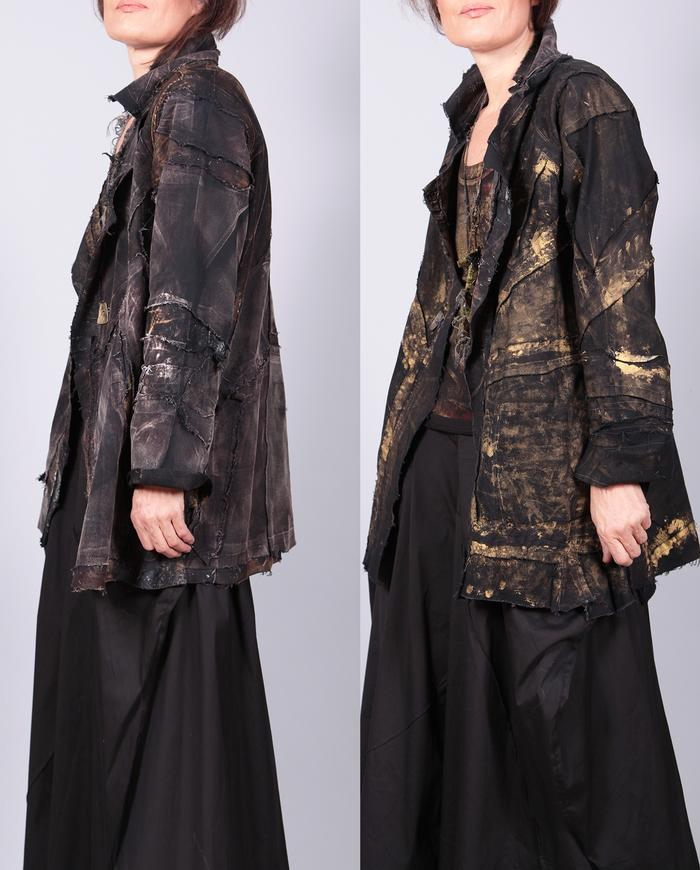 'earth to gold' reversible detailed distressed jacket