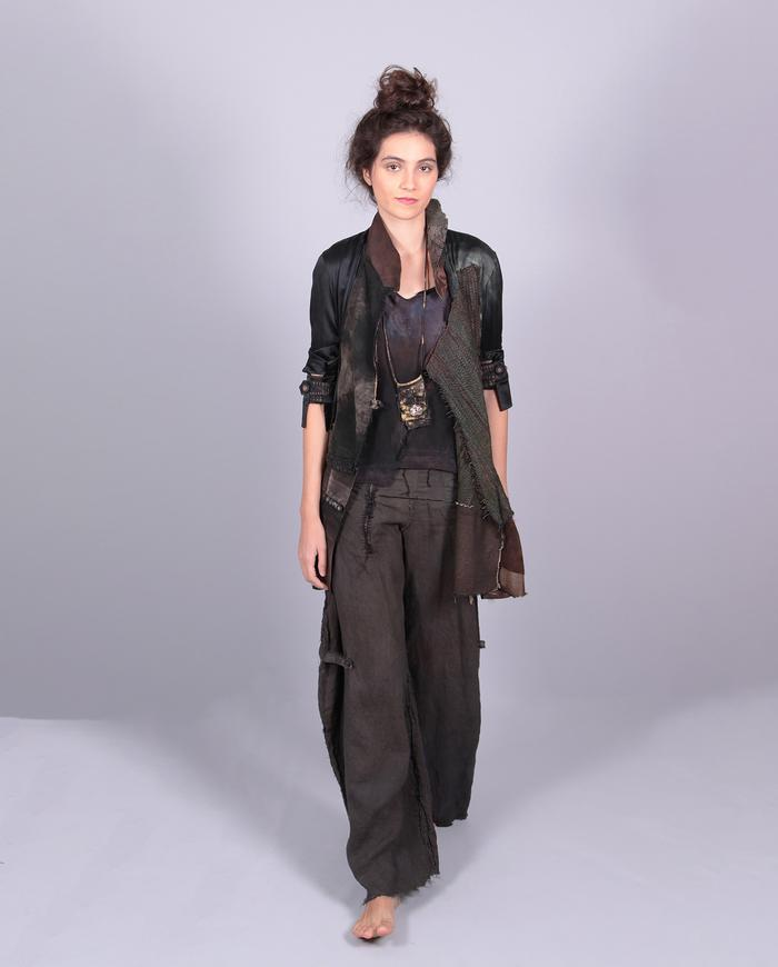 'push my buttons' patchwork silk and woven leather jacket