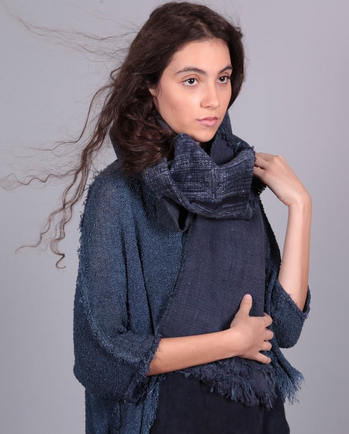 extra long patchwork indigo scarf