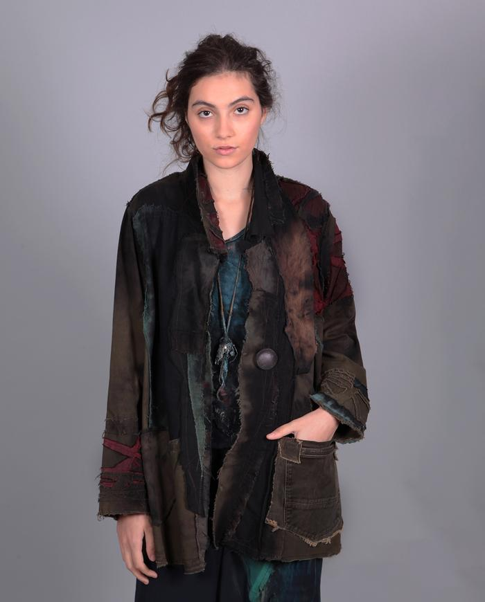 'a slice of color' detailed mixed fabrics jacket
