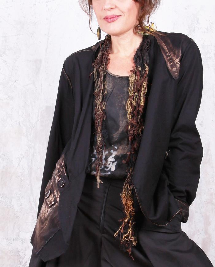 openwork lambskin leather and mixed fibers short skinny scarf