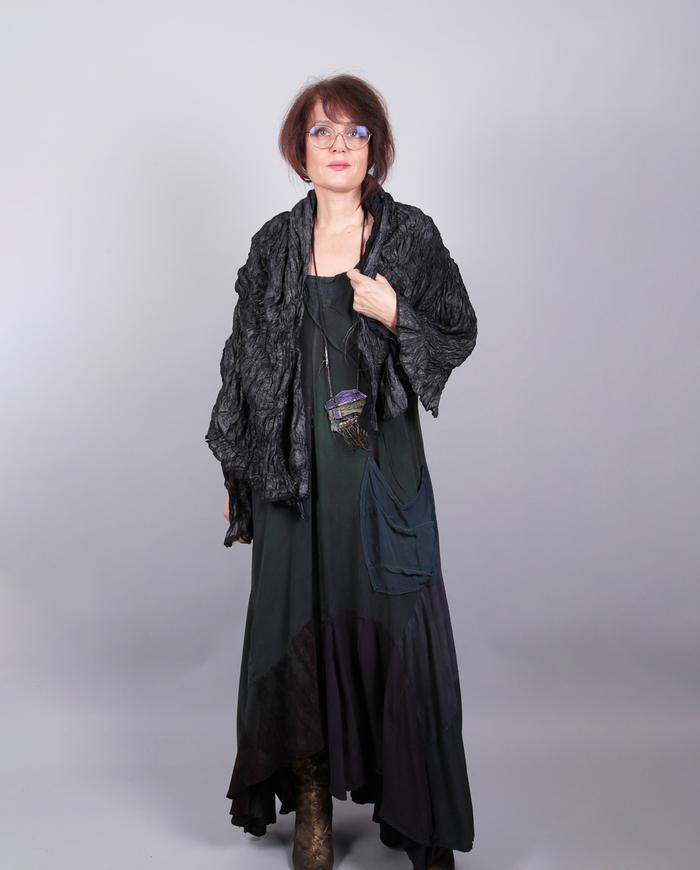'melting gunmetal' hand-textured silk wrap or scarf