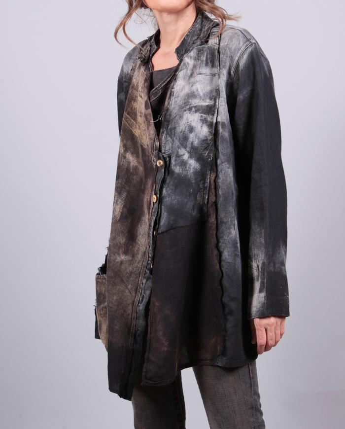 'Irish wonder' distressed loose-fitting linen jacket