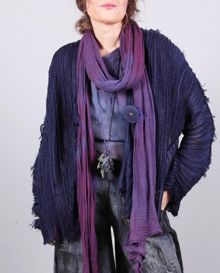 'violets are blue' knit asymmetrical one size cardigan
