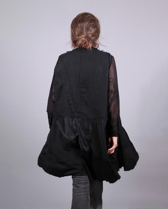'black jumble' patchwork long jacket