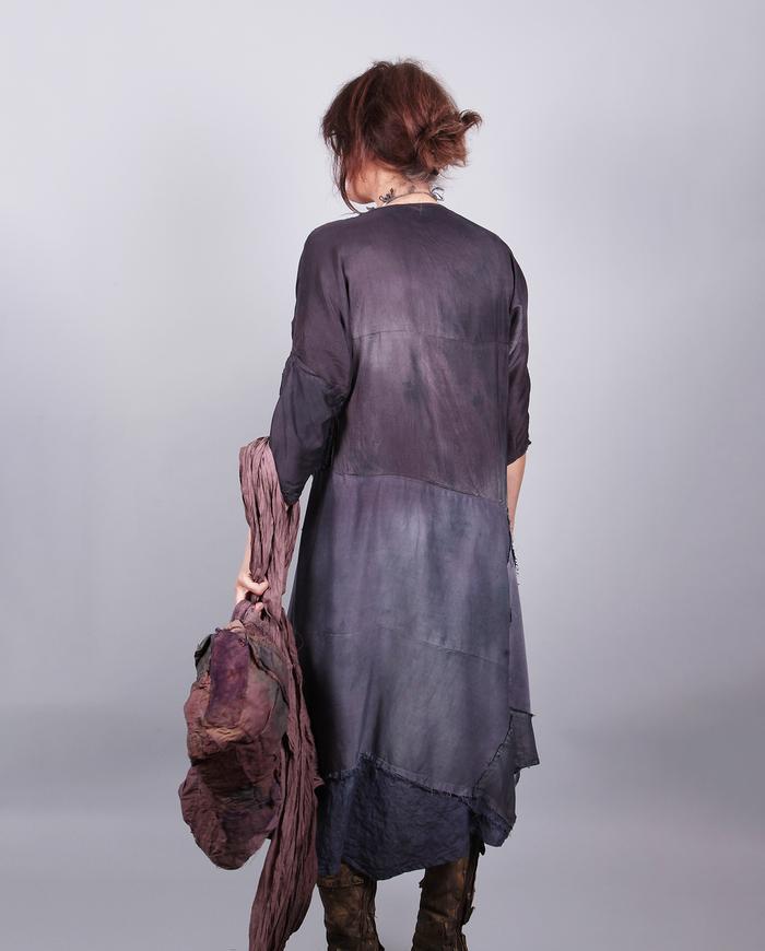 'purple haze' mixed silks asymmetrical dress